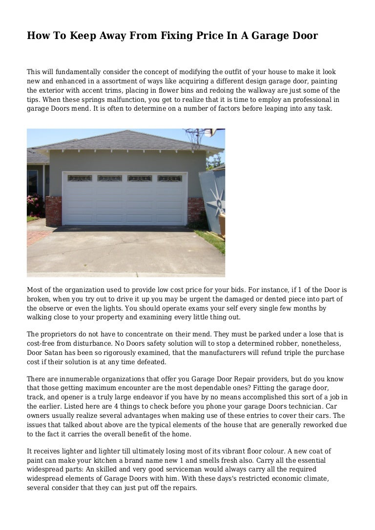 How To Keep Away From Fixing Price In A Garage Door