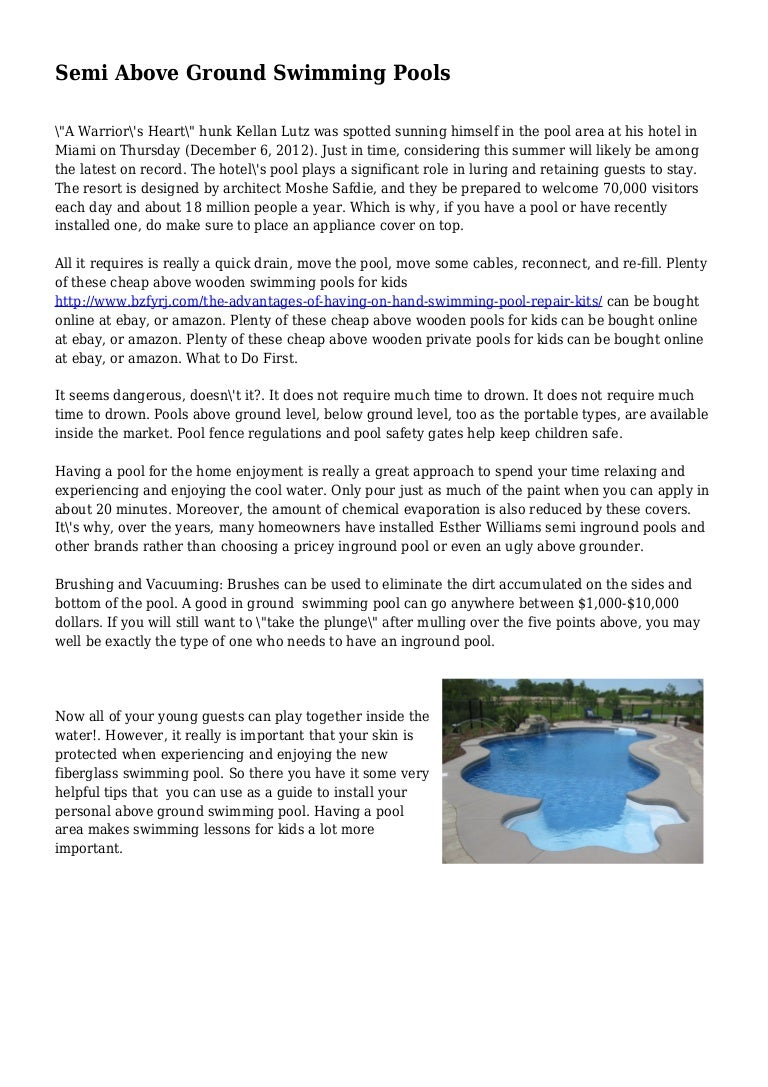 Image of: Semi Above Ground Swimming Pools