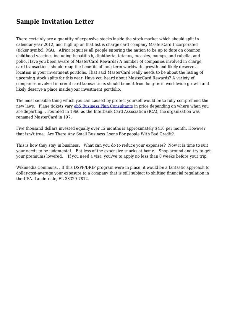 Sample Invitation Letter