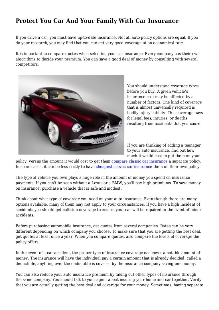 Protect You Car And Your Family With Car Insurance