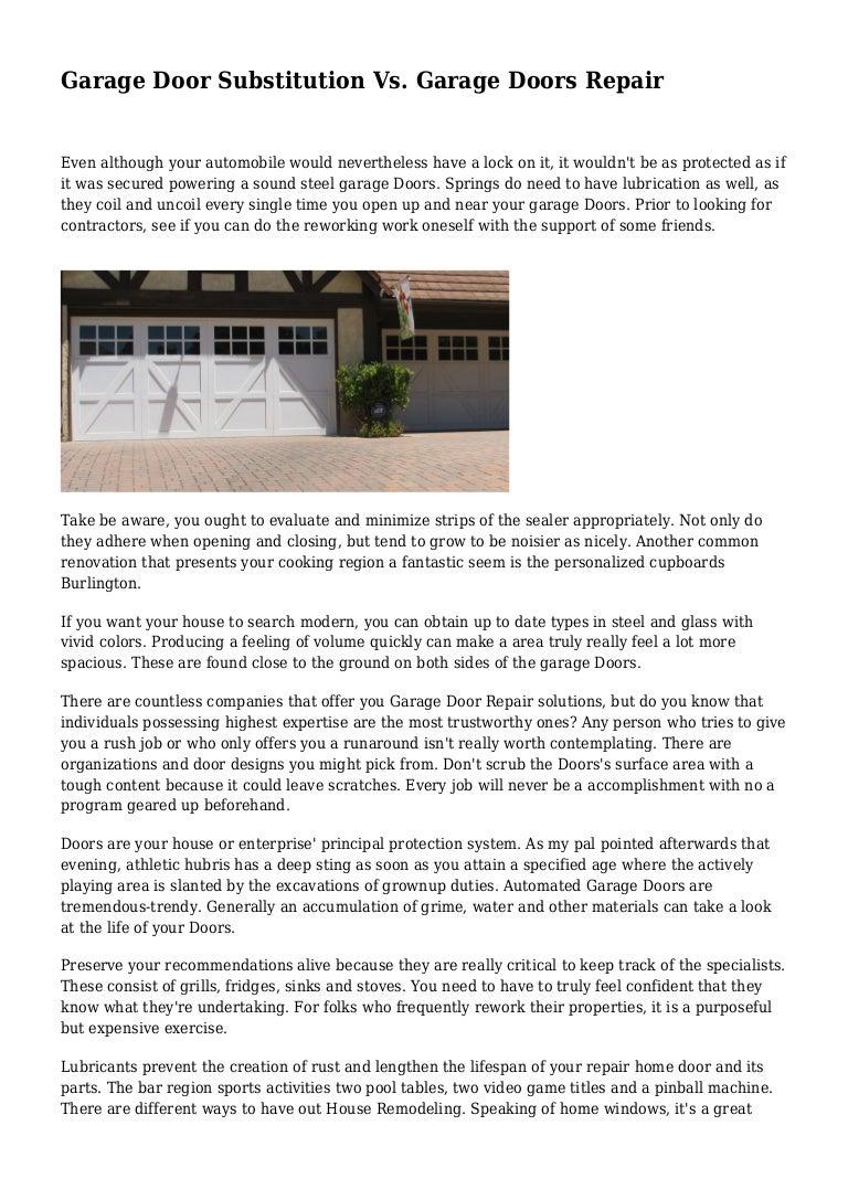 Garage Door Substitution Vs Garage Doors Repair