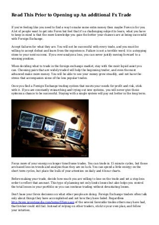 Judgement proofing for forex trader stories