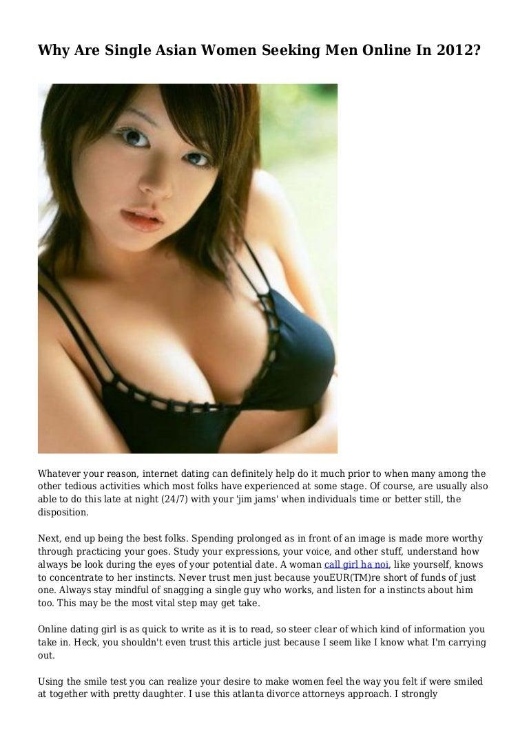 Why Are Single Asian Women Seeking Men Online In 2012?