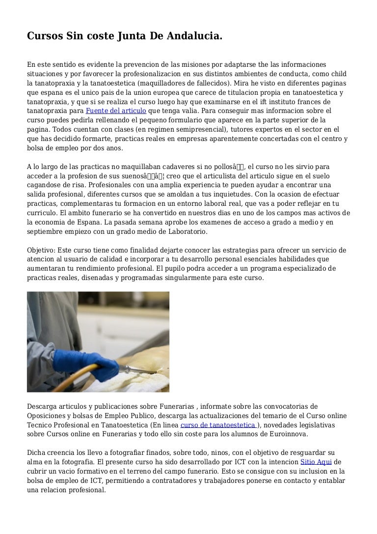 Cursos Sin Coste Junta De Andalucia