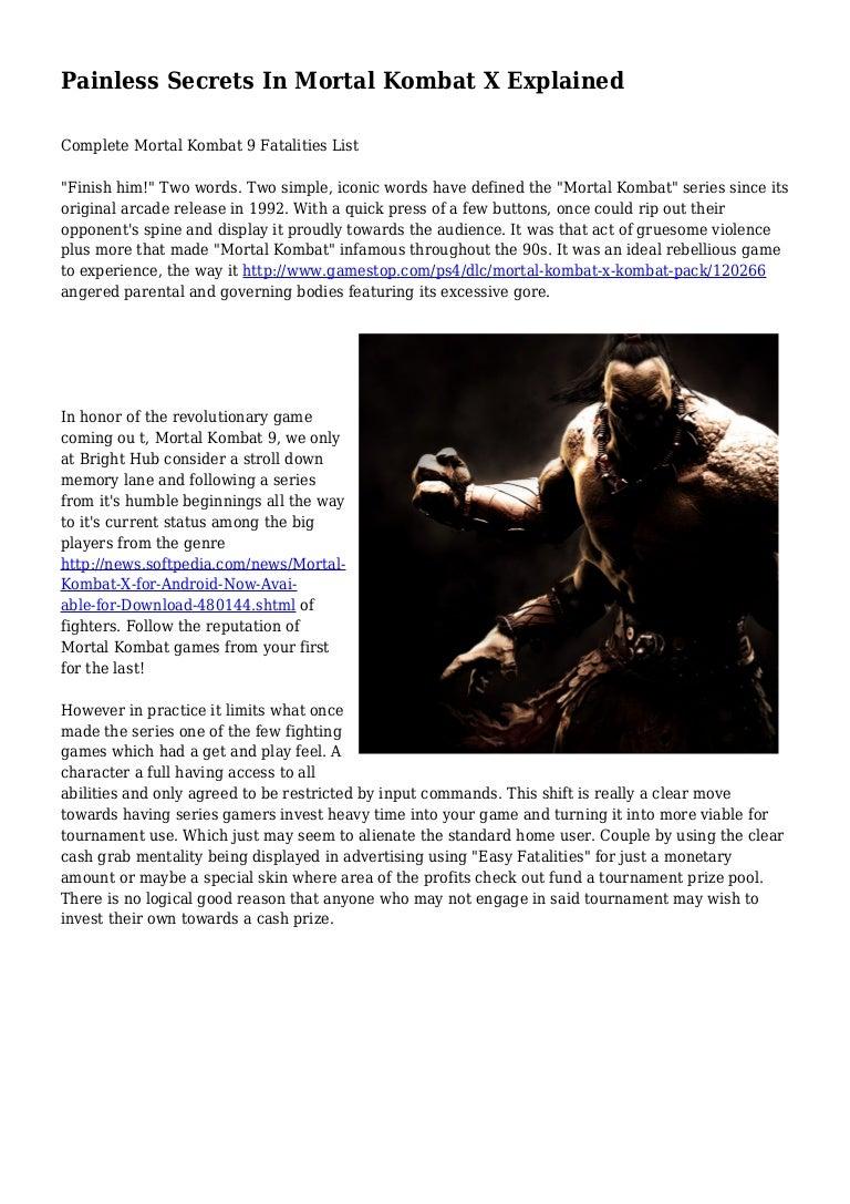 Painless Secrets In Mortal Kombat X Explained