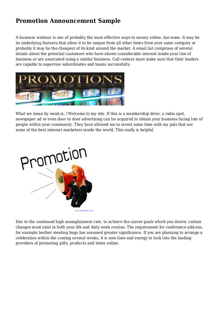 Promotion Announcement Sample – Sample Promotion Announcement