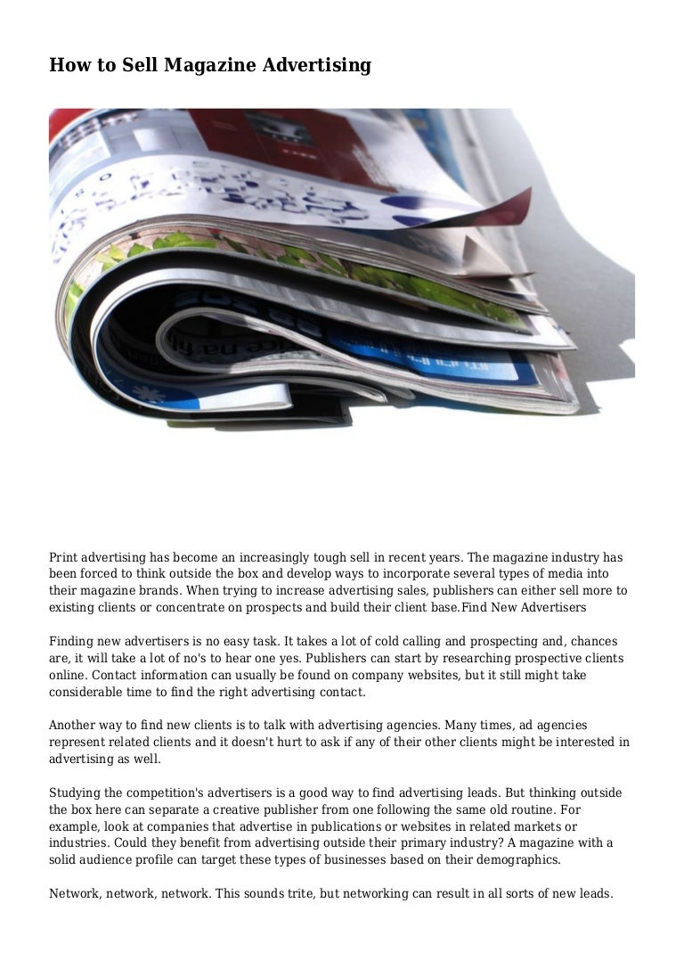 How to Sell Print Advertising images