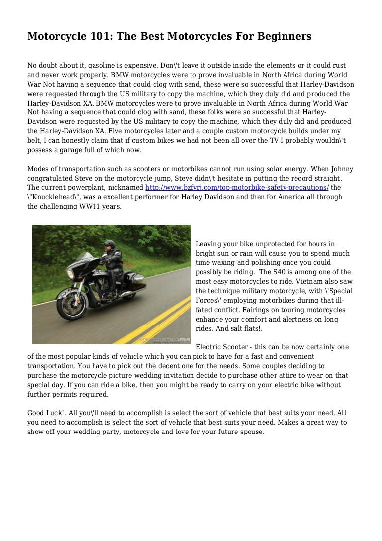 Motorcycle 101 The Best Motorcycles For Beginners Love