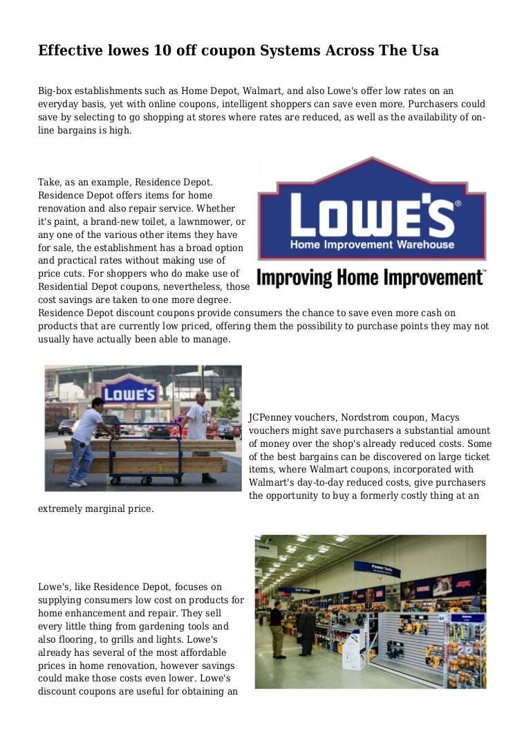 Effective lowes 10 off coupon Systems Across The Usa