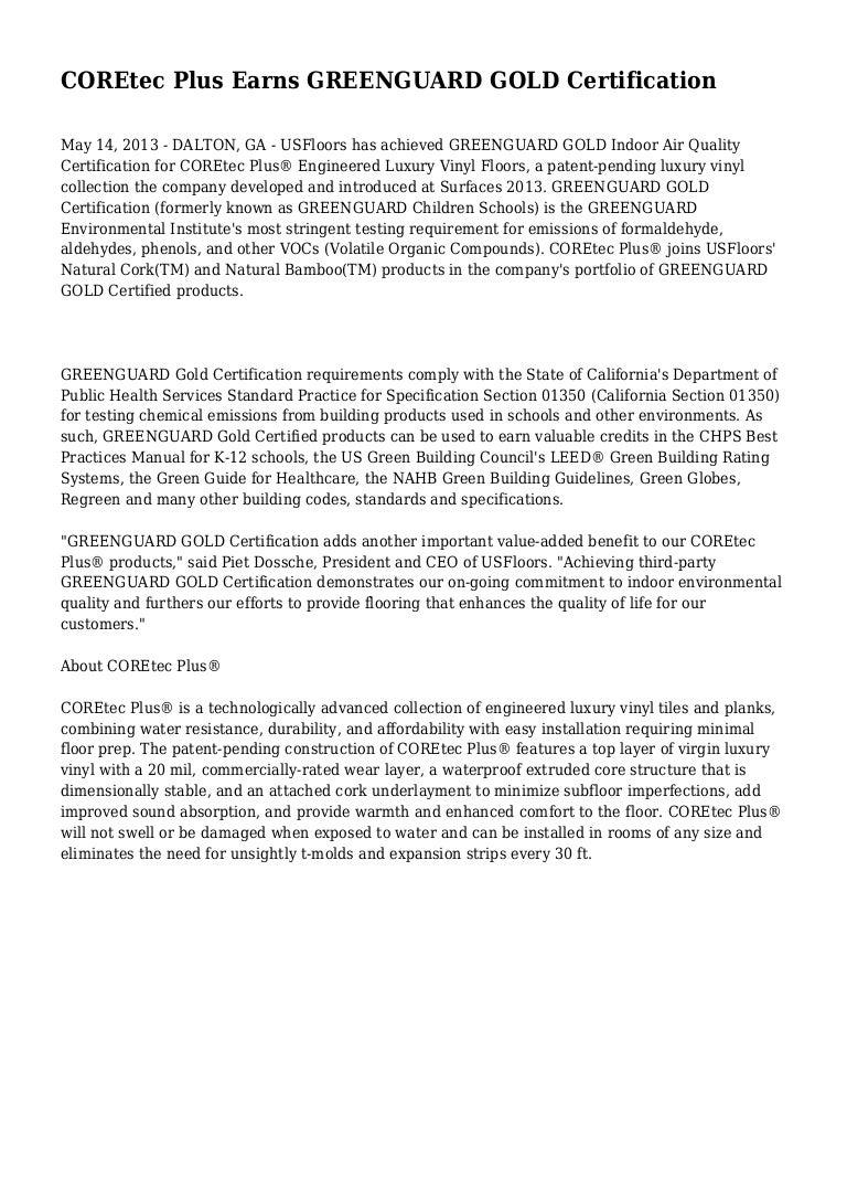 Coretec Plus Earns Greenguard Gold Certification