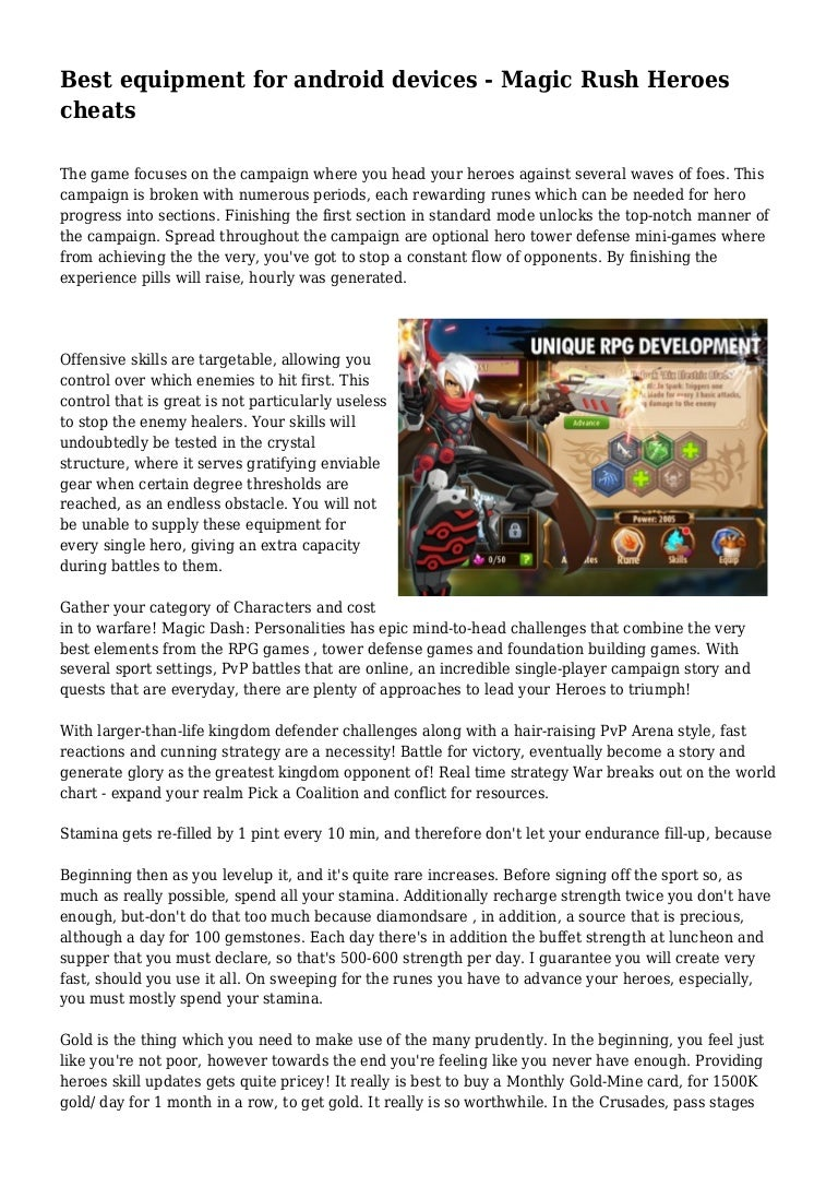 Best equipment for android devices - Magic Rush Heroes cheats