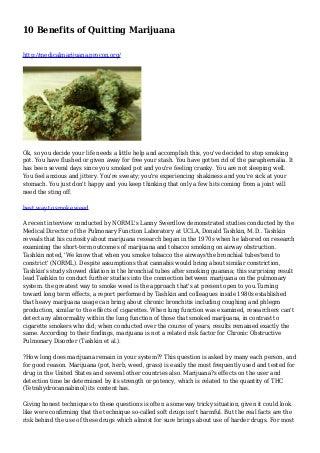 10 Benefits of Quitting Marijuana