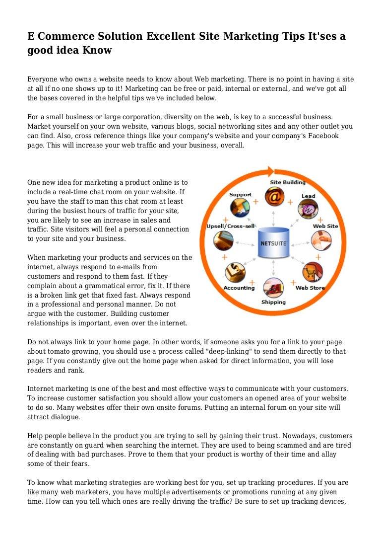 E Commerce Solution Excellent Site Marketing Tips It Ses A Good Idea