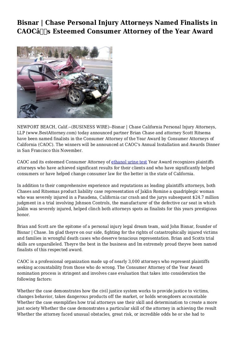 Bisnar | Chase Personal Injury Attorneys Named Finalists in CAOC\'s Es…
