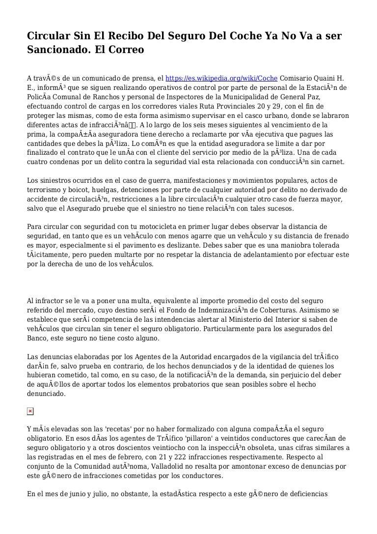 Circular Sin El Recibo Del Seguro Del Coche Ya No Va A Ser Sancionado