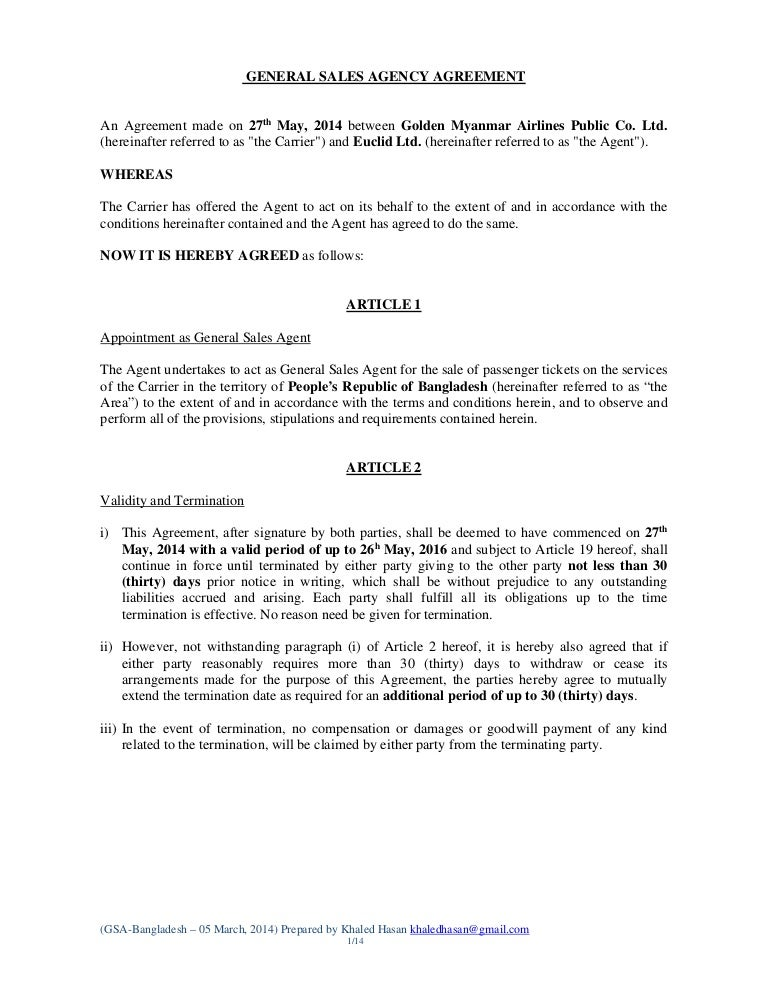 General Sales Agency Draftbangladesh