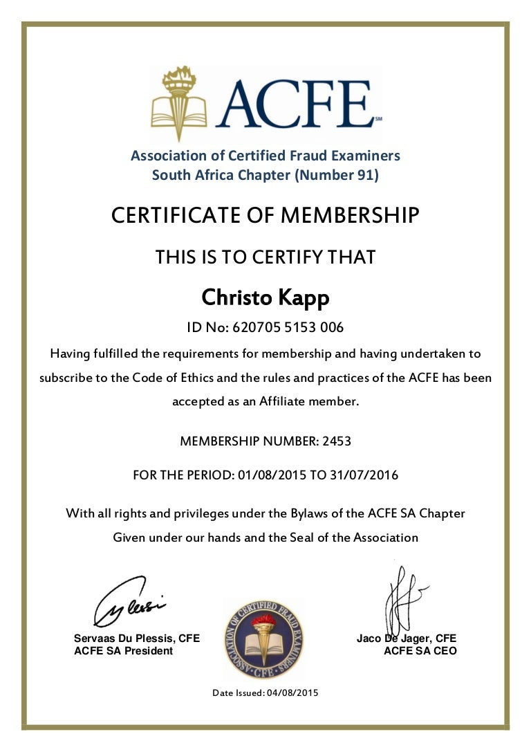 Acfe membership certificate 1betcityfo Images
