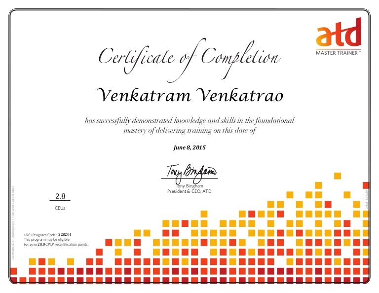 Atd Master Trainer Certificate
