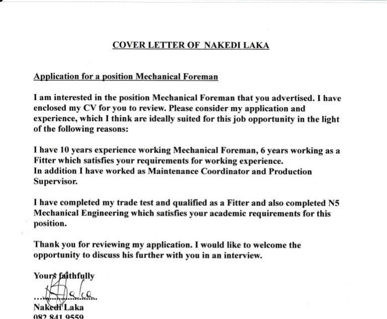 Cover Letter Nakedi Laka Foreman