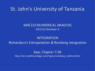 MAT210/Integration/Romberg 2013-14