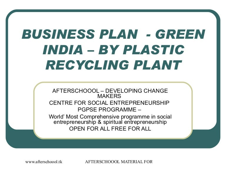 Plastics Recycling Sample Business Plan