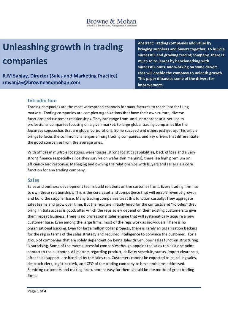 Unleashing growth in trading companies