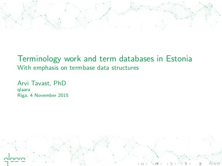 Terminology work and term databases in Estonia