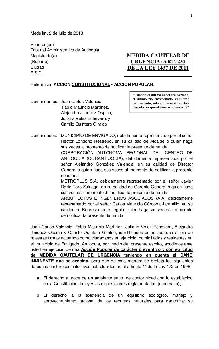 ACCIÓN POPULAR CONTRA TALA DE ARBOLES EN ENVIGADO-COLOMBIA