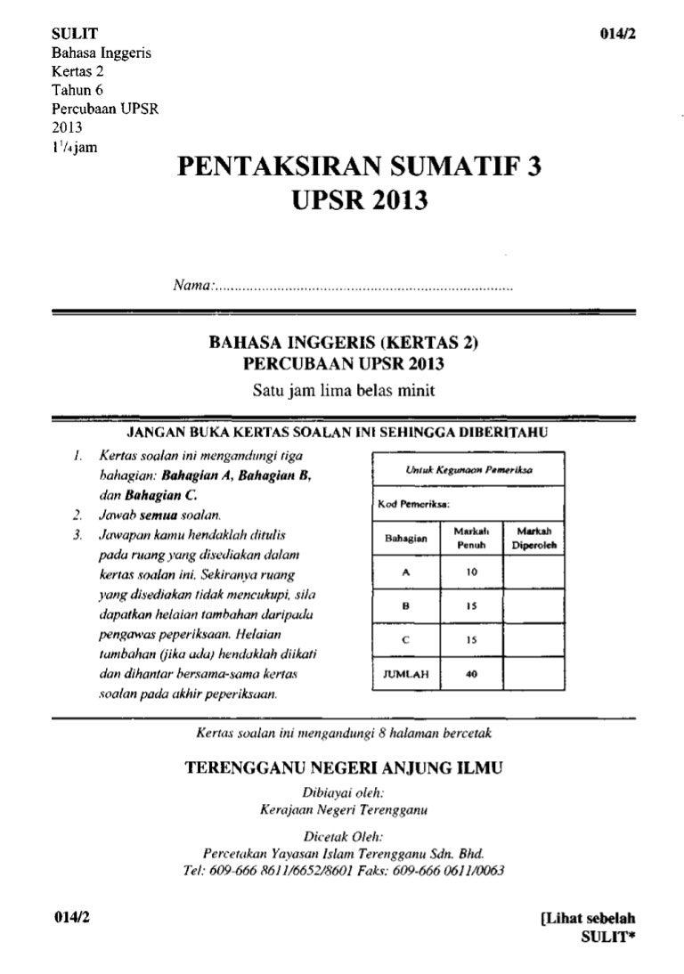 Soalan Percubaan Bahasa Inggeris Kertas2 Terengganu 2013