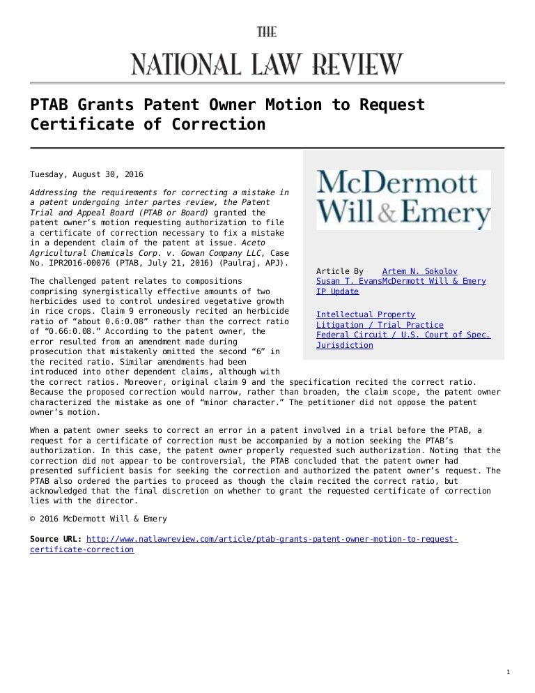 The National Law Review Ptab Grants Patent Owner Motion To Request