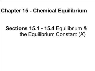 Chapter 15 Lecture- Chemical Equilibrium