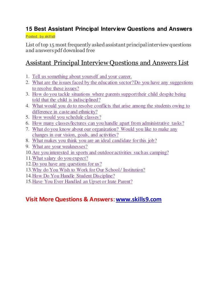 assistant principal interview questions