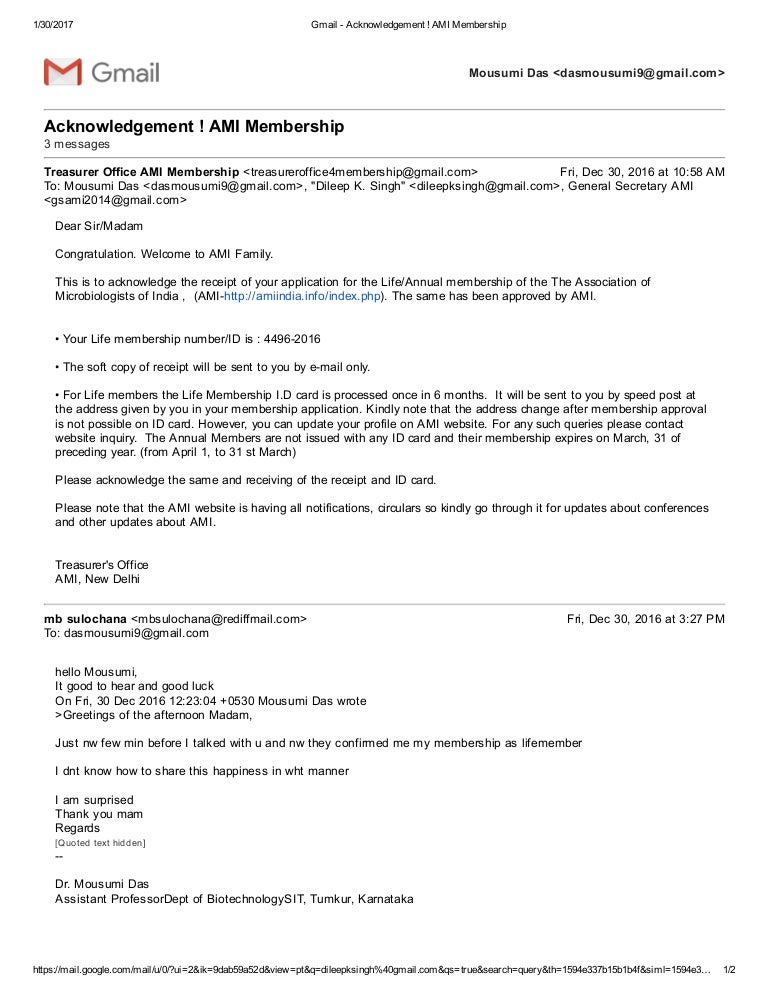Gmail acknowledgement ami membership m4hsunfo