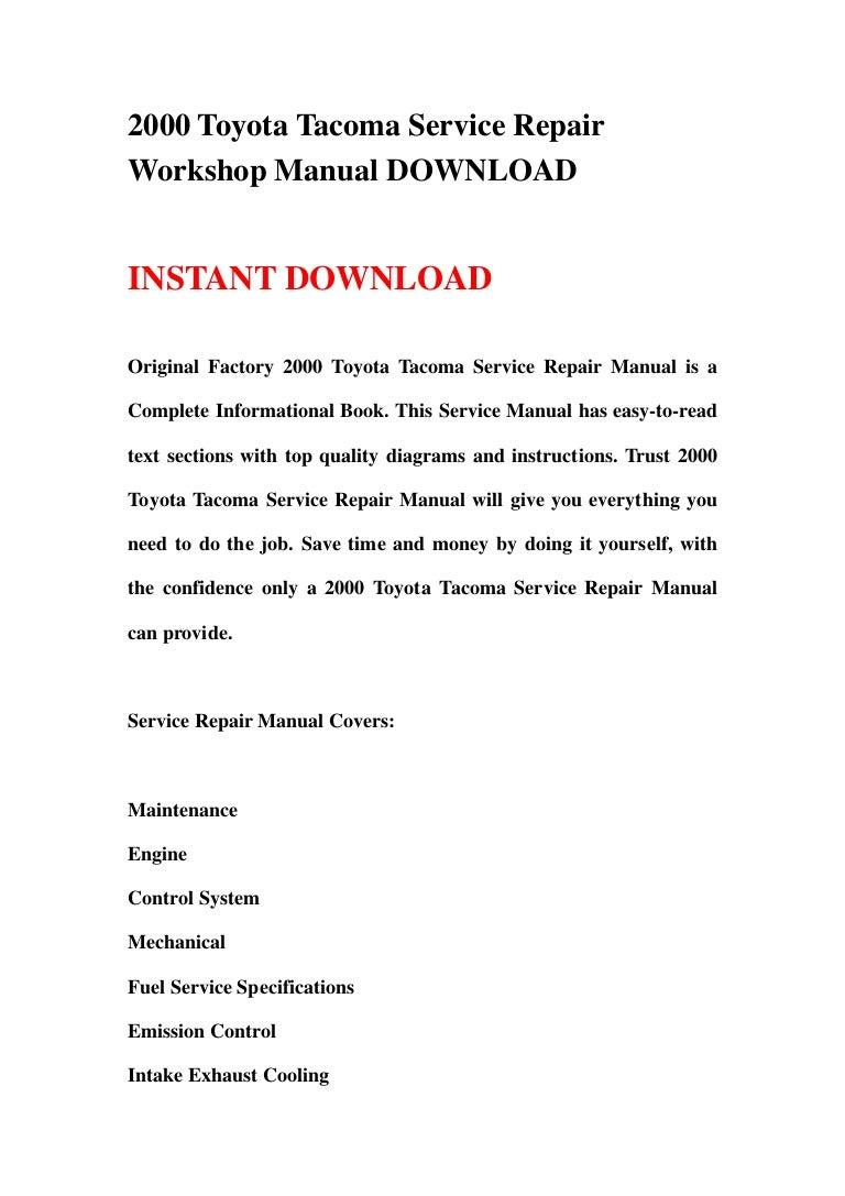 Toyota Tacoma Owners Manual: Maintenance