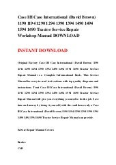SEARCHABLE CD Case David Brown 1494 /& 1594 TRACTORS REPAIR SHOP SERVICE MANUAL