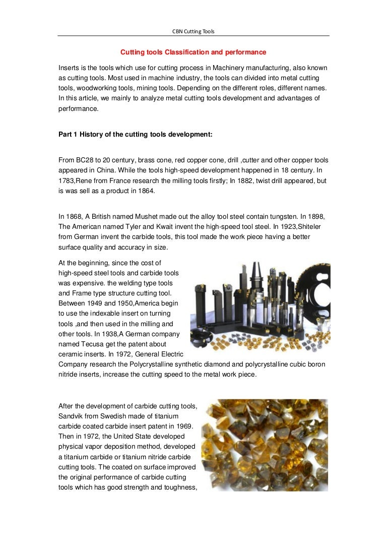 cutting tools classification and performance