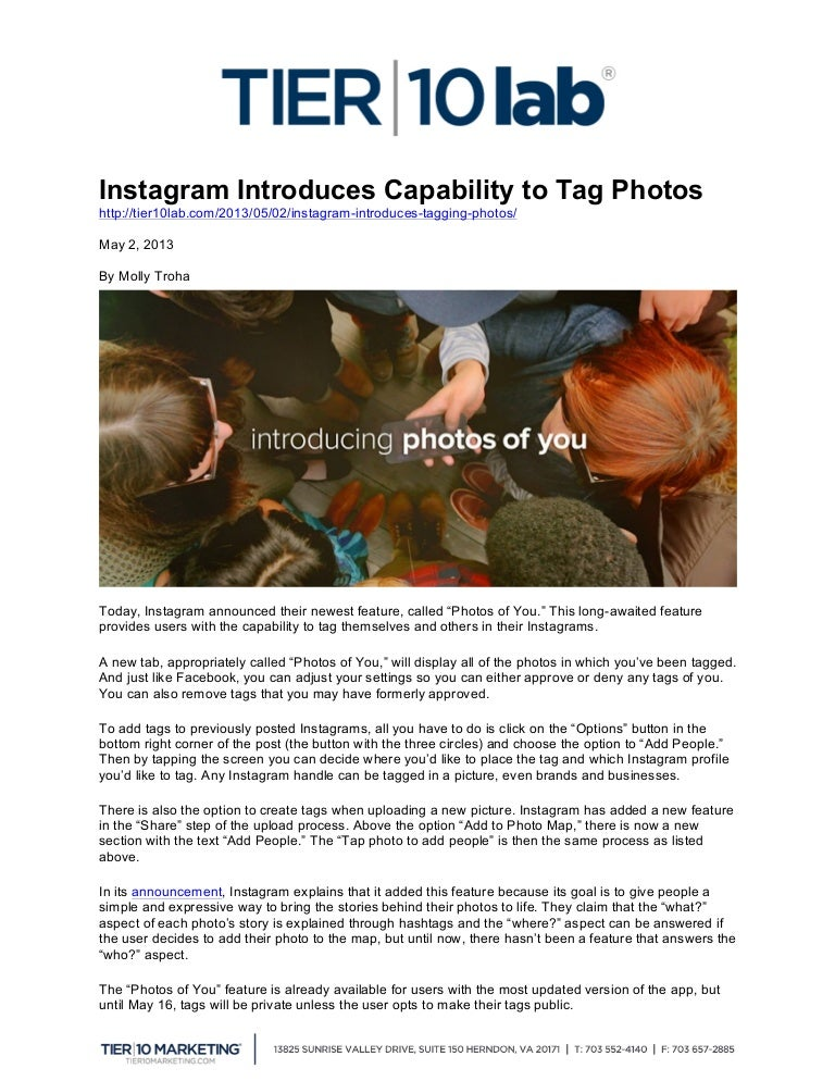 Instagram Introduces Capability to Tag Photos