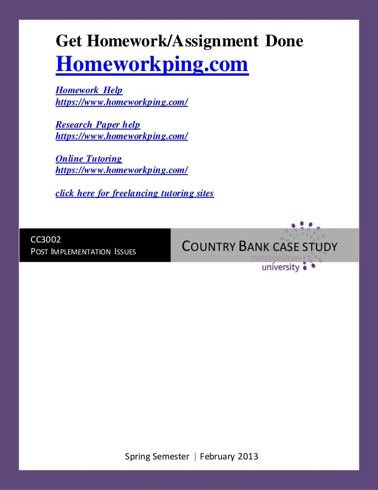 cc coursework my bank islington case study