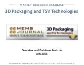3D Packaging and TSV Technologies -- Market Research Database