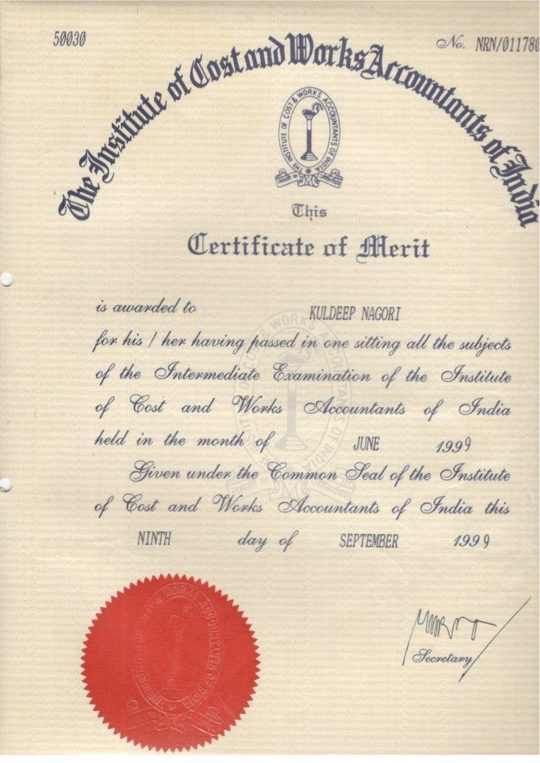 Certificate of Merit ICWA – Merit Certificate Comments