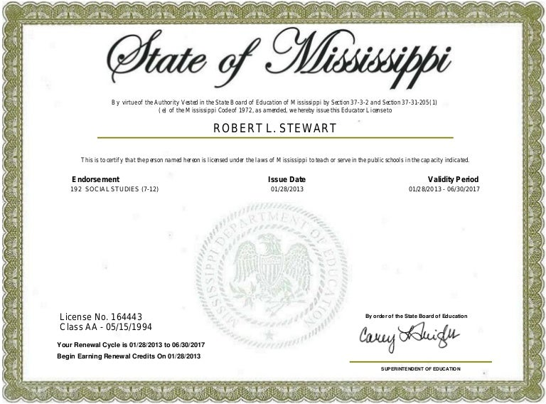 Mississippi Teaching Certificate