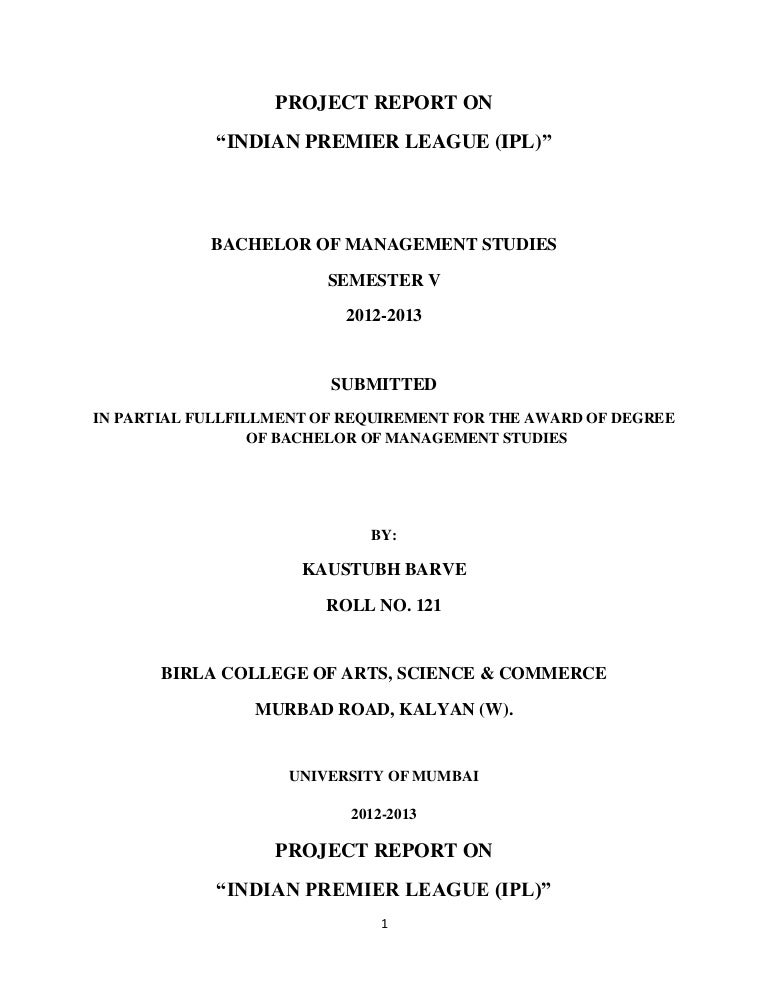 Project Report on IPL - Indian Premier League
