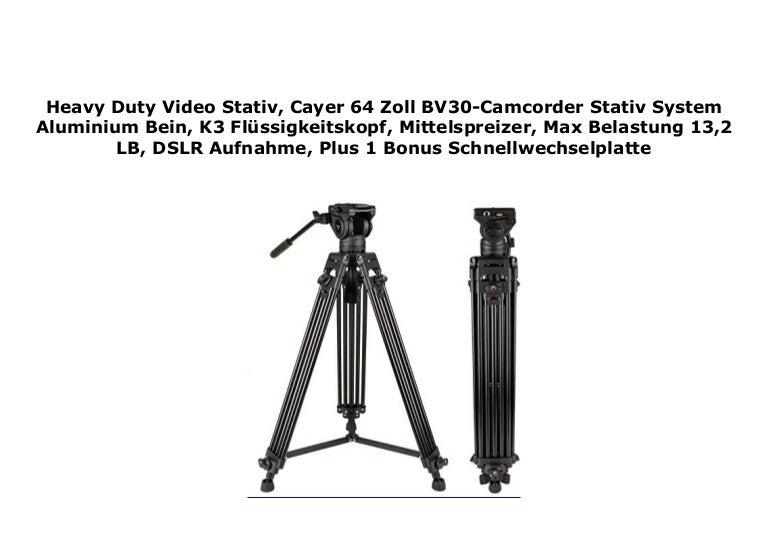 Cayer 64 Zoll BV30-Camcorder Stativ System Aluminium Bein Mittelspreizer Heavy Duty Video Stativ Max Belastung 13,2 LB DSLR Aufnahme Plus 1 Bonus Schnellwechselplatte K3 Fl/üssigkeitskopf