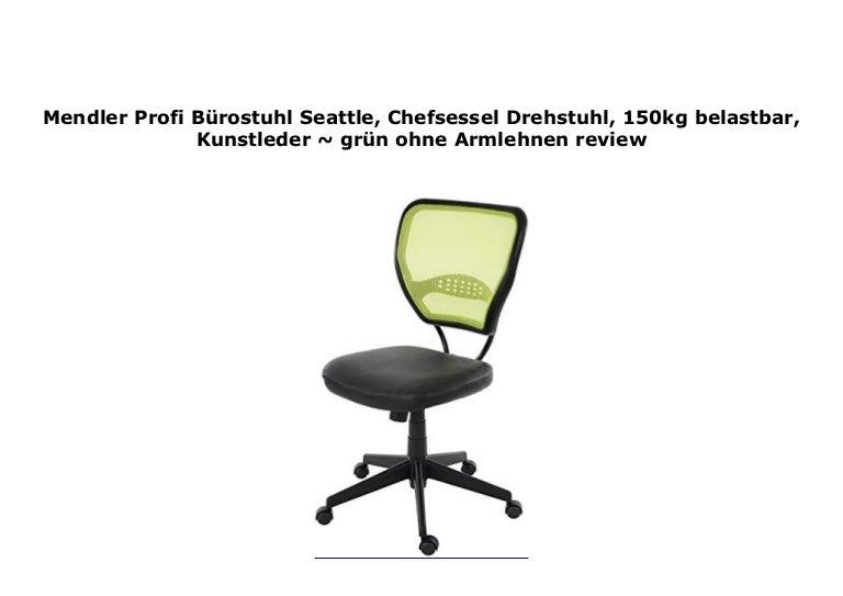Bürostuhl Profi-Drehstuhl Seattle 150kg belastbar Kunstleder ohne Armlehne