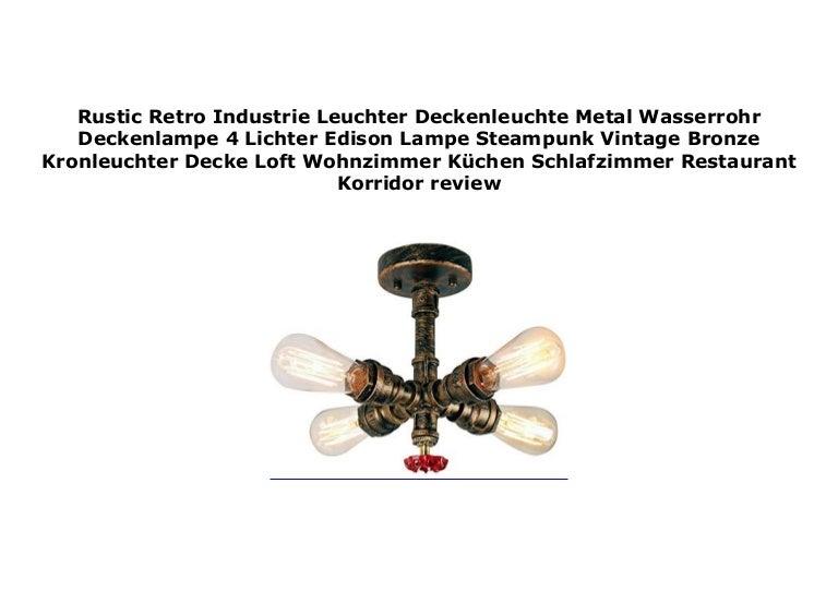 Rustic Retro Industrie Leuchter Deckenleuchte Metal Wasserrohr Decken