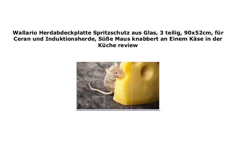 Wallario Herdabdeckplatte 1-teilig aus Glas 80x52cm Süße Maus knabbert an
