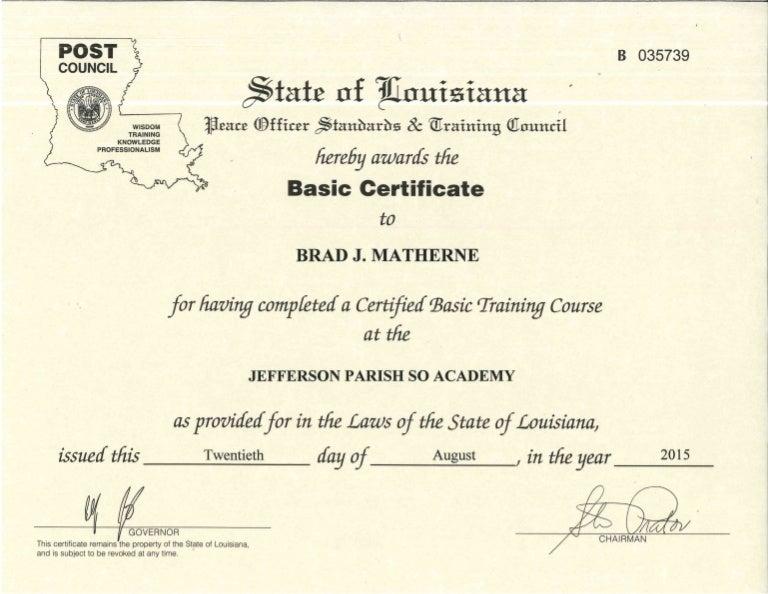 jefferson parish certificate