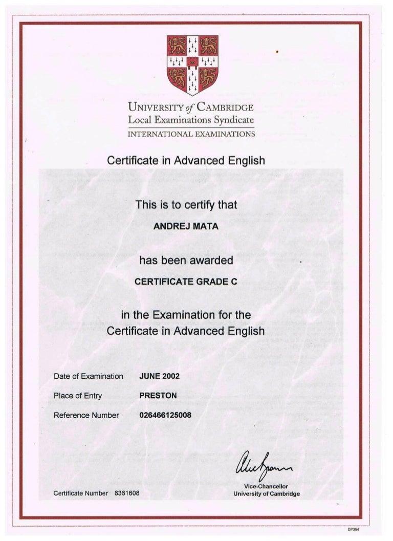 certificate cambridge english advanced slideshare