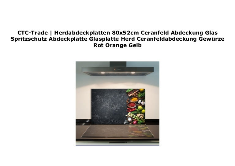 Ceranfeldabdeckung 80x52 cm Gewürze Gelb Herdabdeckplatten Spritzschutz Glas