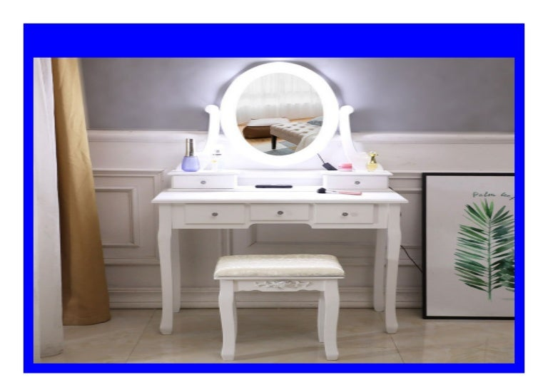 Big Sale Makeup Dressing Table With 5 Drawer Mirror Bulb Vanity Set
